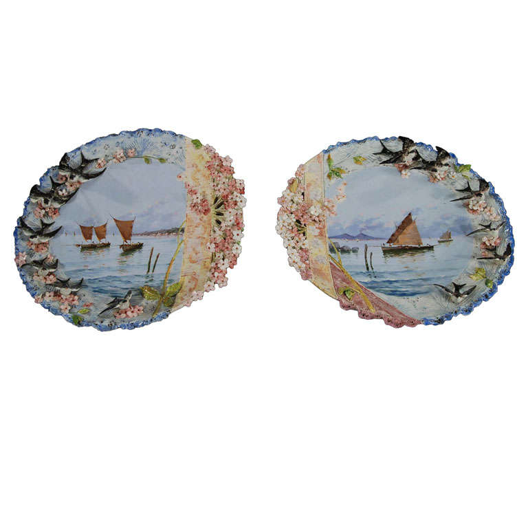 Pair of 19th Century Hand-Painted Ceramic Plaques Seacapes and Applied Birds