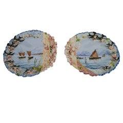Pair of 19th Century Hand-Painted Ceramic Plaques Seascapes 2-DM Birds