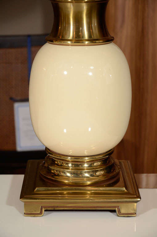 Pair Of Stiffel Quot Ostrich Egg Quot Brass And Ceramic Table