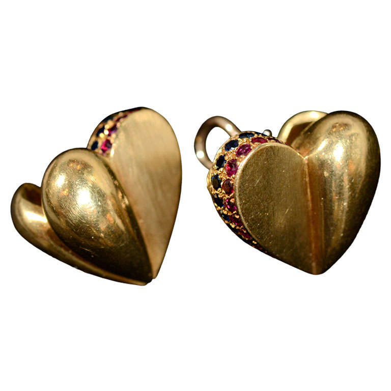 KIESELSTEIN-Cord  Heart Shaped Ruby Sapphire and Gold Earrings
