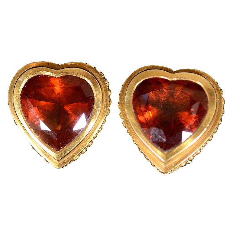 KIESELSTEIN -Cord Heart Shaped Citrine Earrings