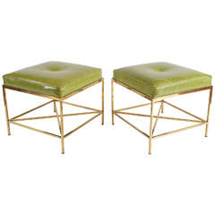 Vintage Brass Paul McCobb Style Leather Upholstered Stools