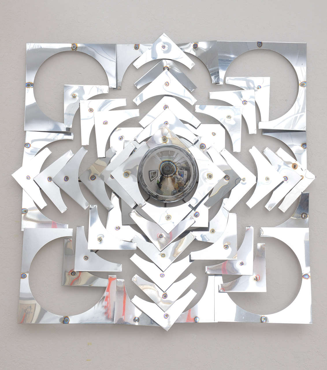 American 1970s, Mid-Century Modern, Pop Art, Polished Chrome, Square, 3-D Wall Sculpture For Sale