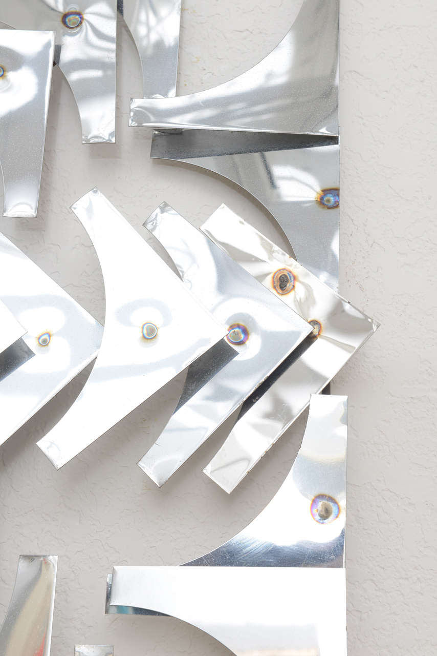 Plated 1970s, Mid-Century Modern, Pop Art, Polished Chrome, Square, 3-D Wall Sculpture For Sale