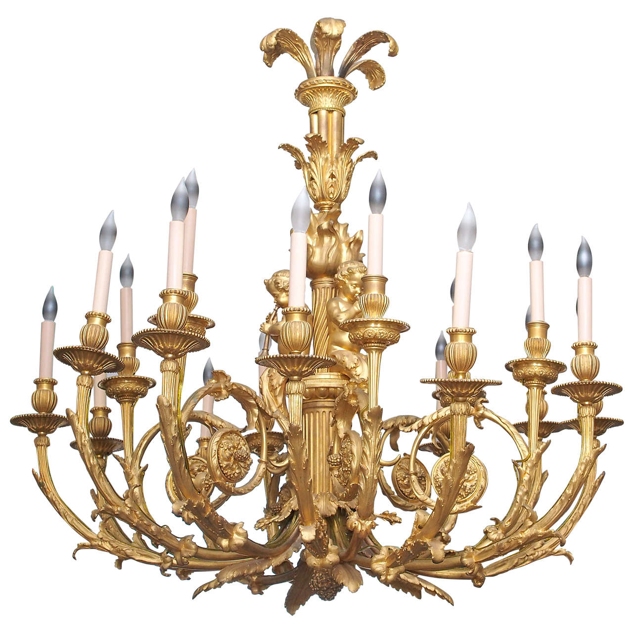 Large bronze chandelier with cherub decoration for sale at 1stdibs - Lights and chandeliers ...