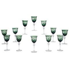 12 Signed Webb, England Forest Green Overlay Cut to Clear Wine Goblets