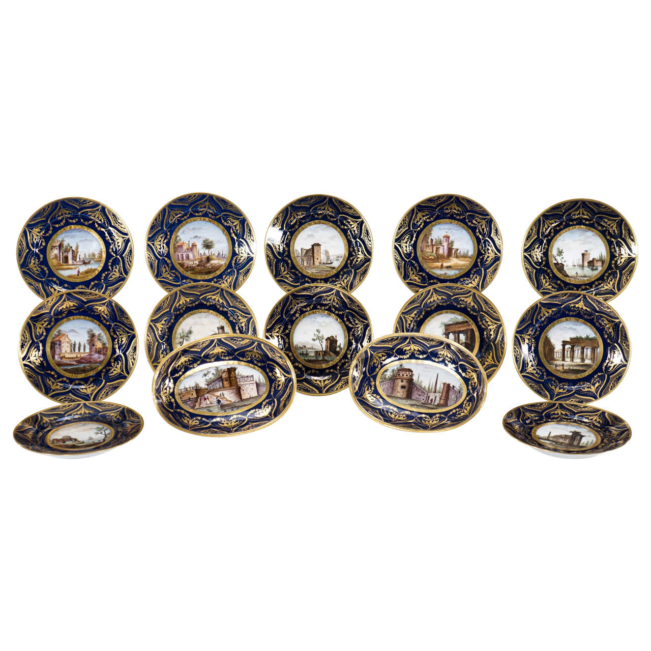 """Hand-Painted Early 19th Century Darte Frères Dessert Service """"Views of Italy"""""""
