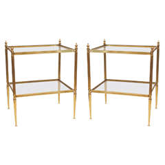 Pair of Elegant Side Tables in Gilt Bronze circa 1940s Attribution Maison Jansen