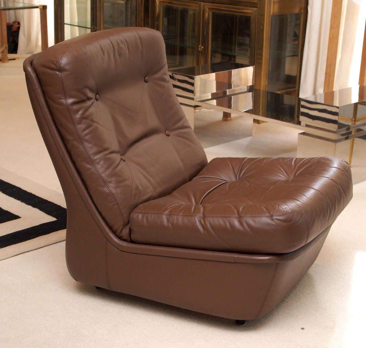 Saturday Sale Pair of Leather Lounge Chairs by Airborne International 3