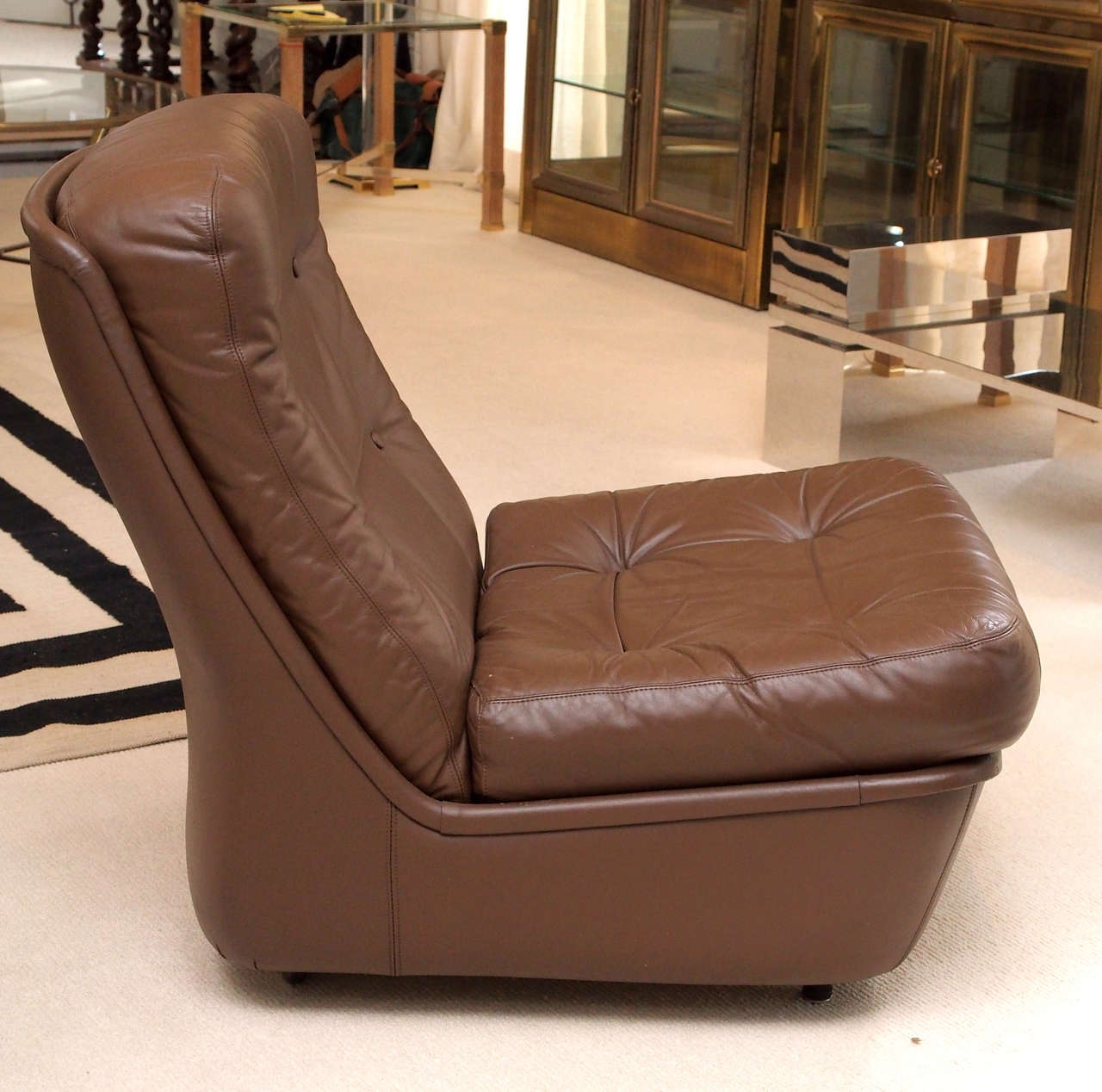 Saturday Sale Pair of Leather Lounge Chairs by Airborne International 4