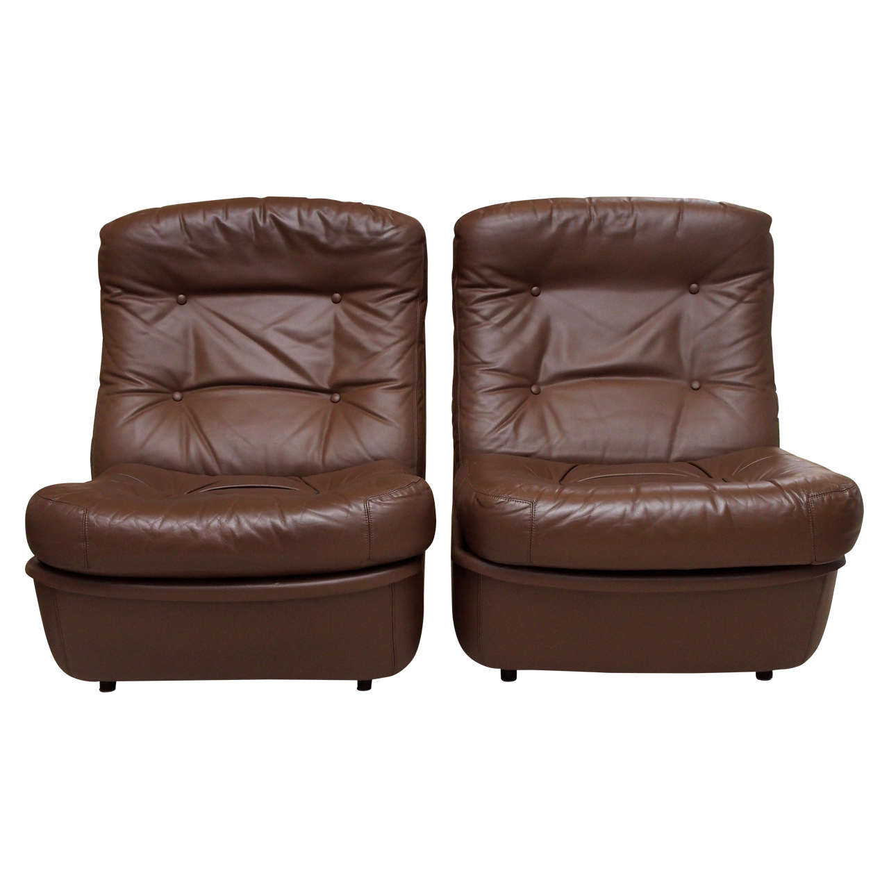 Saturday Sale Pair of Leather Lounge Chairs by Airborne International 1