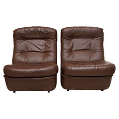 Saturday Sale Pair of Leather Lounge Chairs by Airborne International