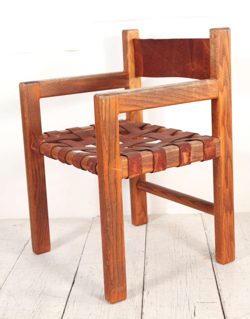 New Set of Six Wood and Woven Saddle Leather Dining Chairs at 1stdibs AF72
