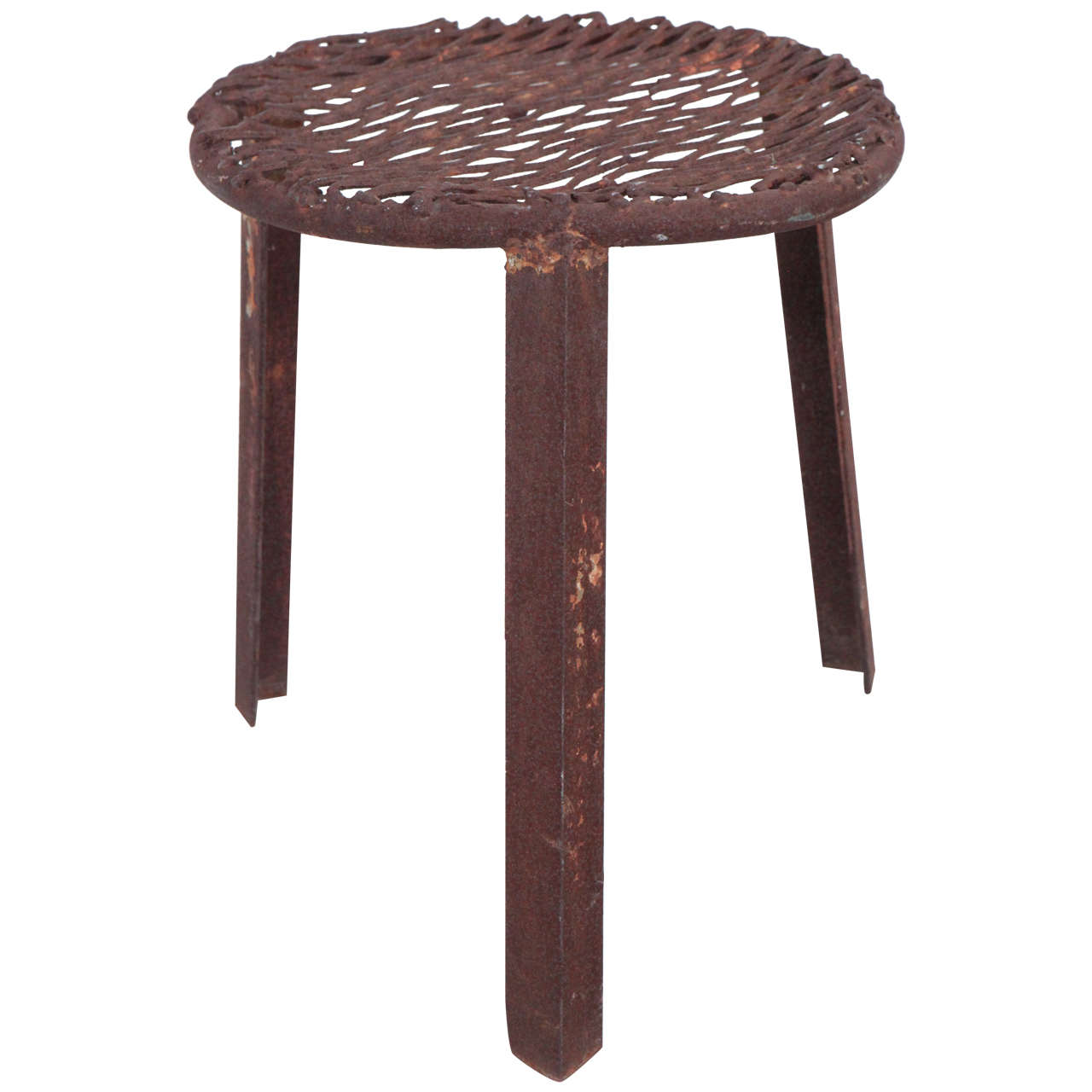 Rusted Industrial Mesh Stool At 1stdibs