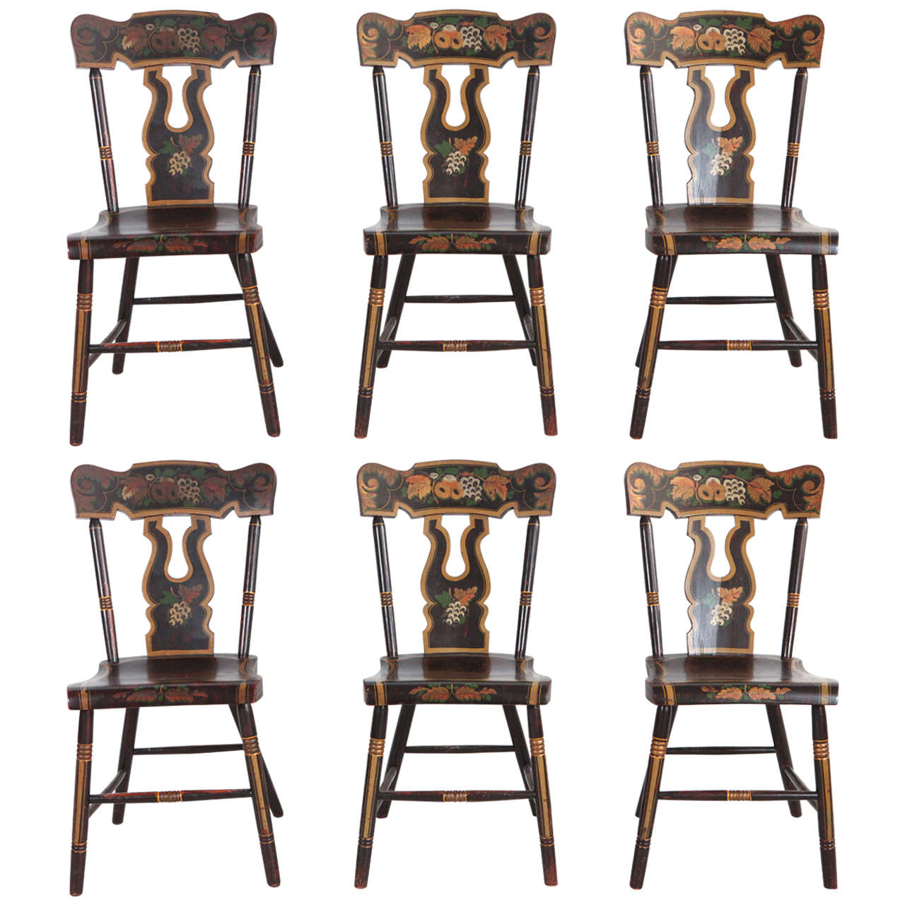 Four French Hand Painted Chairs Sold Individually