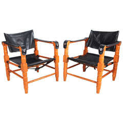 Pair of Safari Style Black Leather and Spindle Wood Framed Chairs