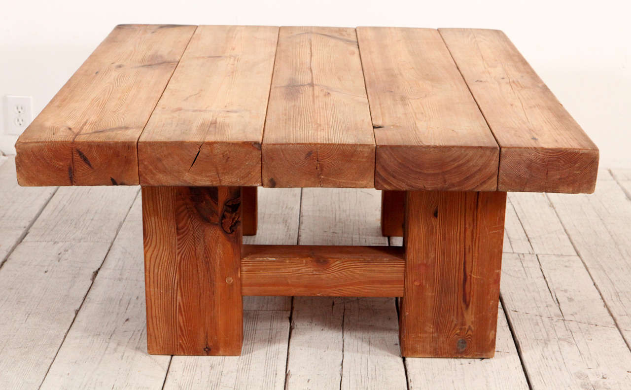 Rustic Wood Block Square Coffee Table 2 - Rustic Wood Block Square Coffee Table At 1stdibs