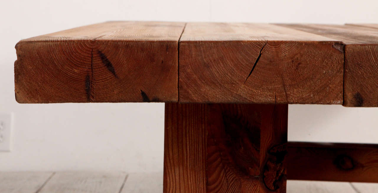 Rustic wood block square coffee table in good condition for sale in los angeles ca