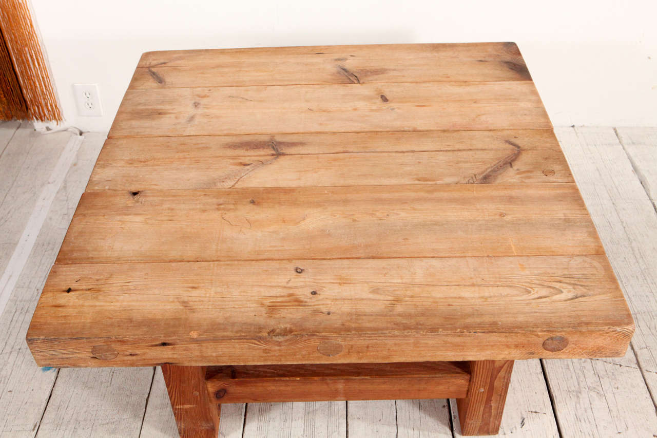 Rustic wood block square coffee table at 1stdibs
