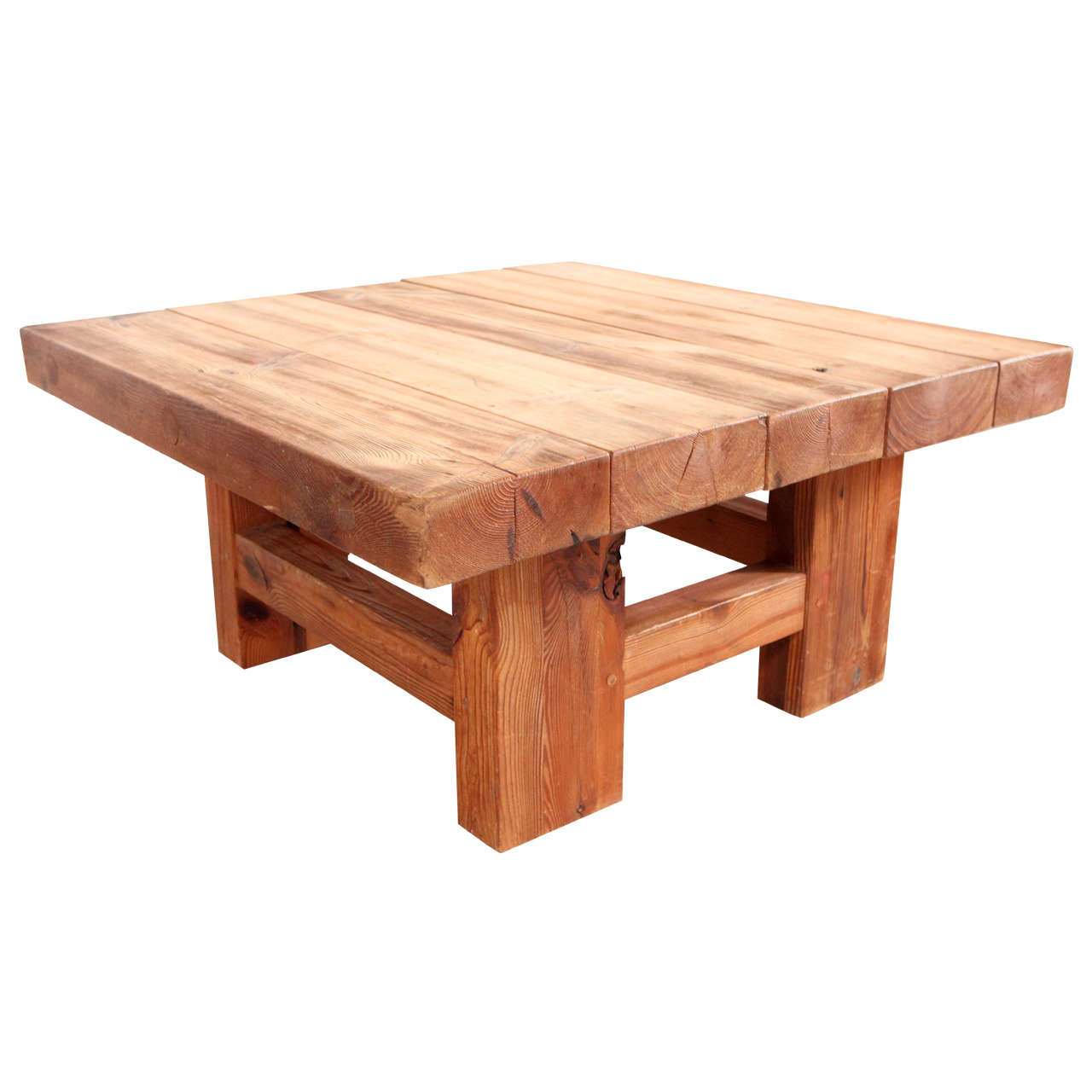 Rustic wood block square coffee table at 1stdibs Rustic wooden coffee tables