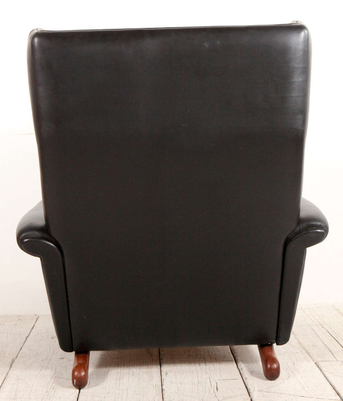 Mid Century Black Leather Wingback Lounge Chair at 1stdibs