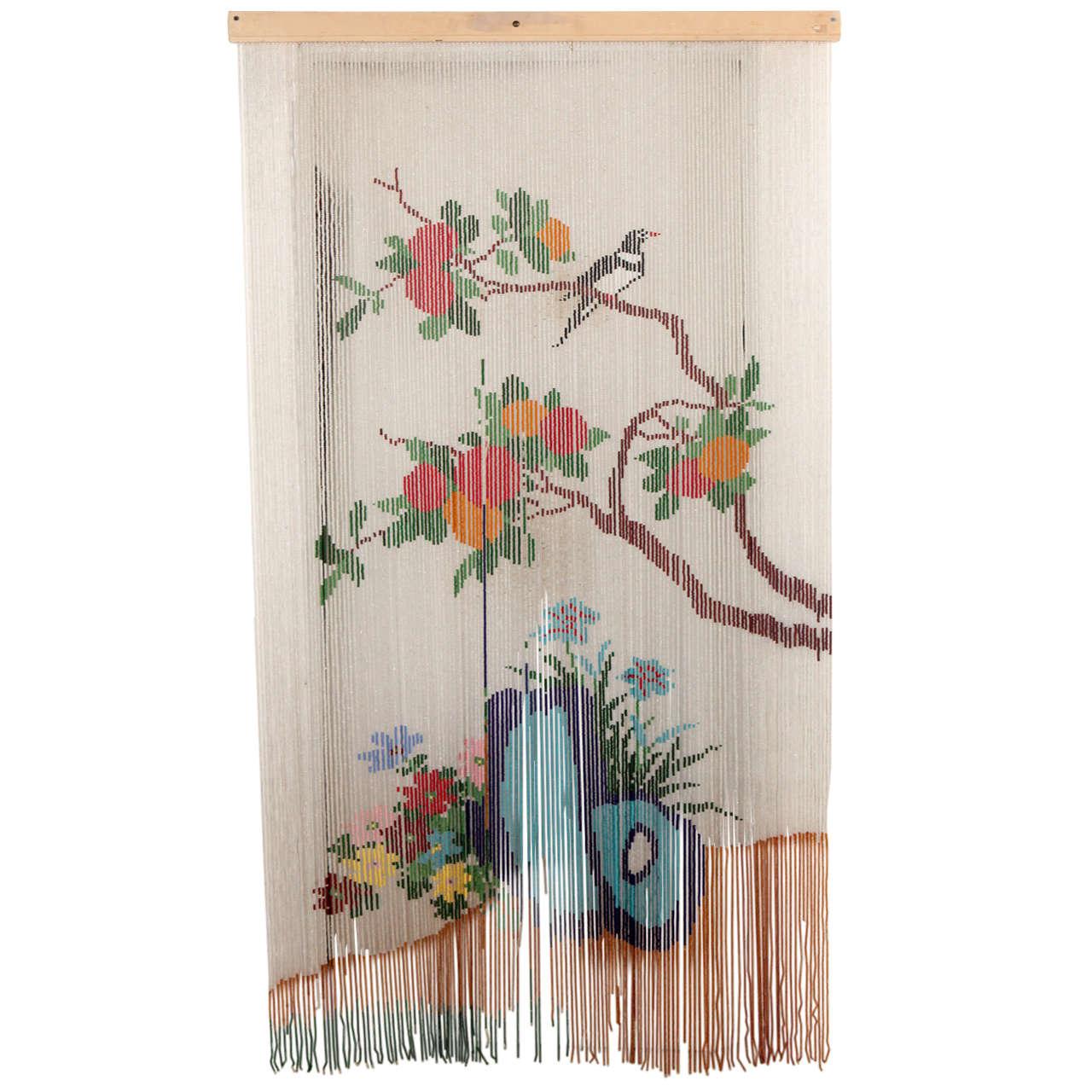 Mid Century Beaded Hanging Door Curtain Screen At 1stdibs