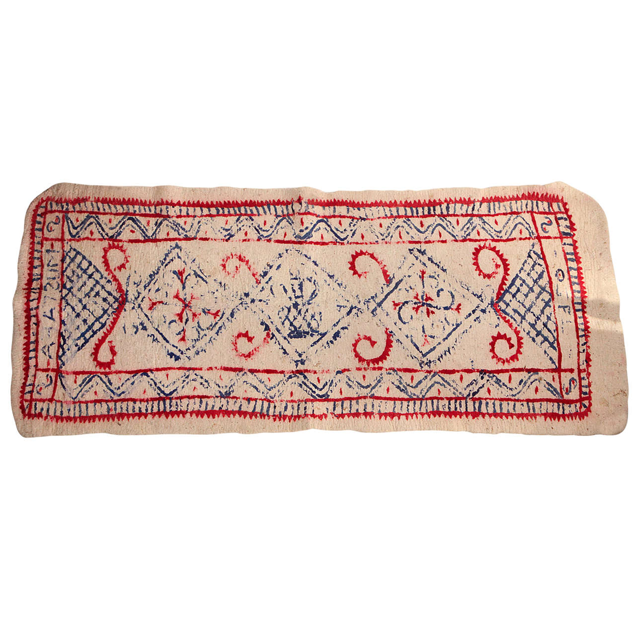 French Felt Cream Colored Rug with Hand Painted Red, Blue, and Pink Pattern