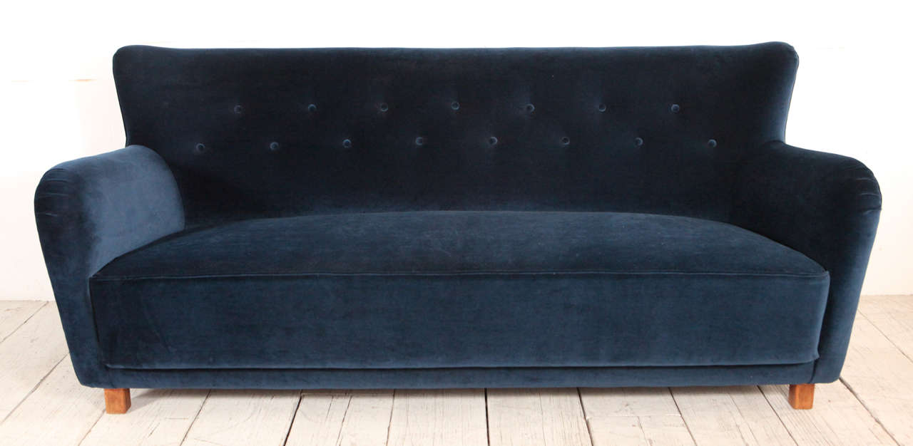 Vintage Curved Sofa With Arms And Back Reupholstered In Navy Velvet