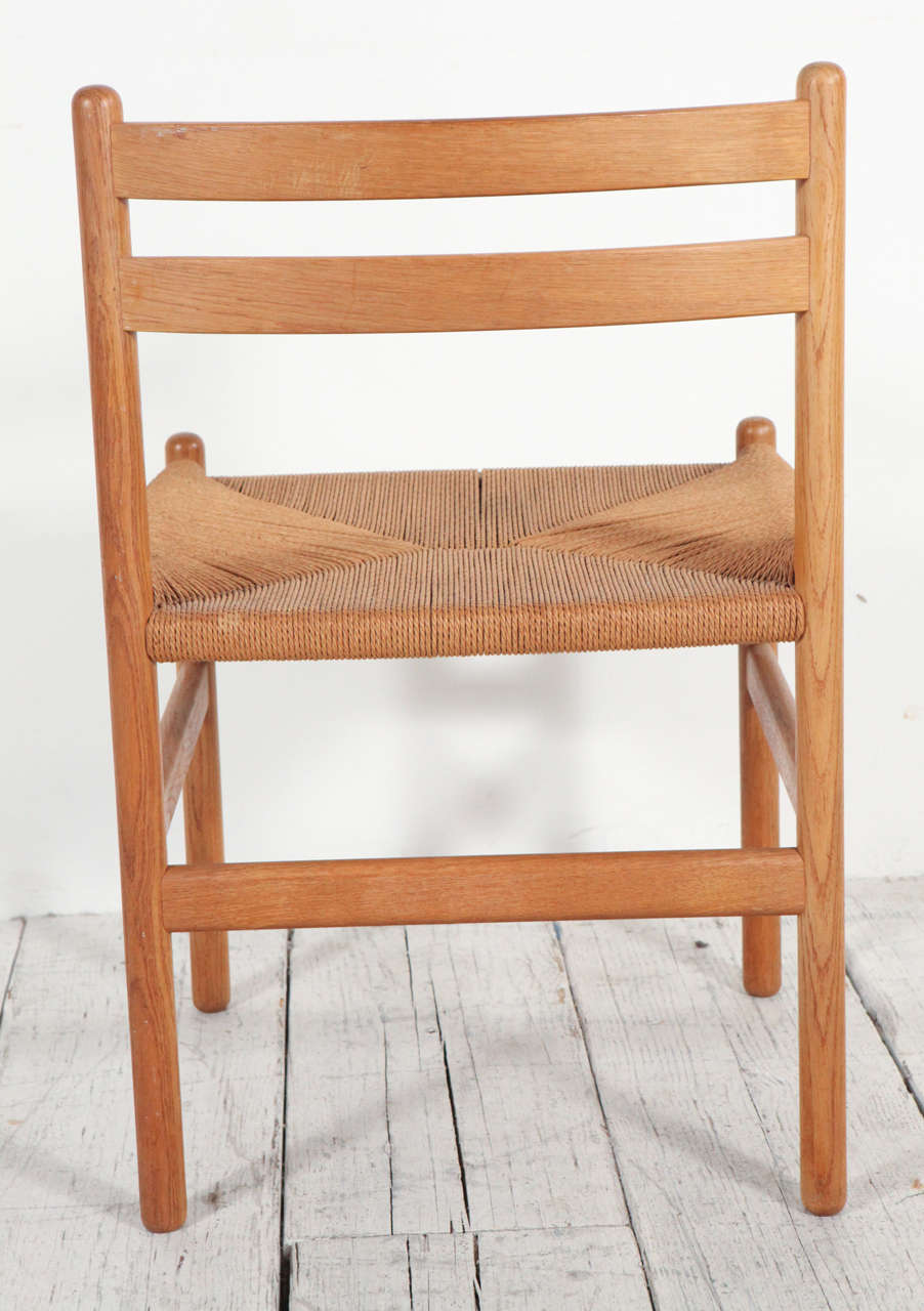 Set of four hans wegner style rush and oak ladder back dining chairs at 1stdibs - Ladder back dining room chairs ...