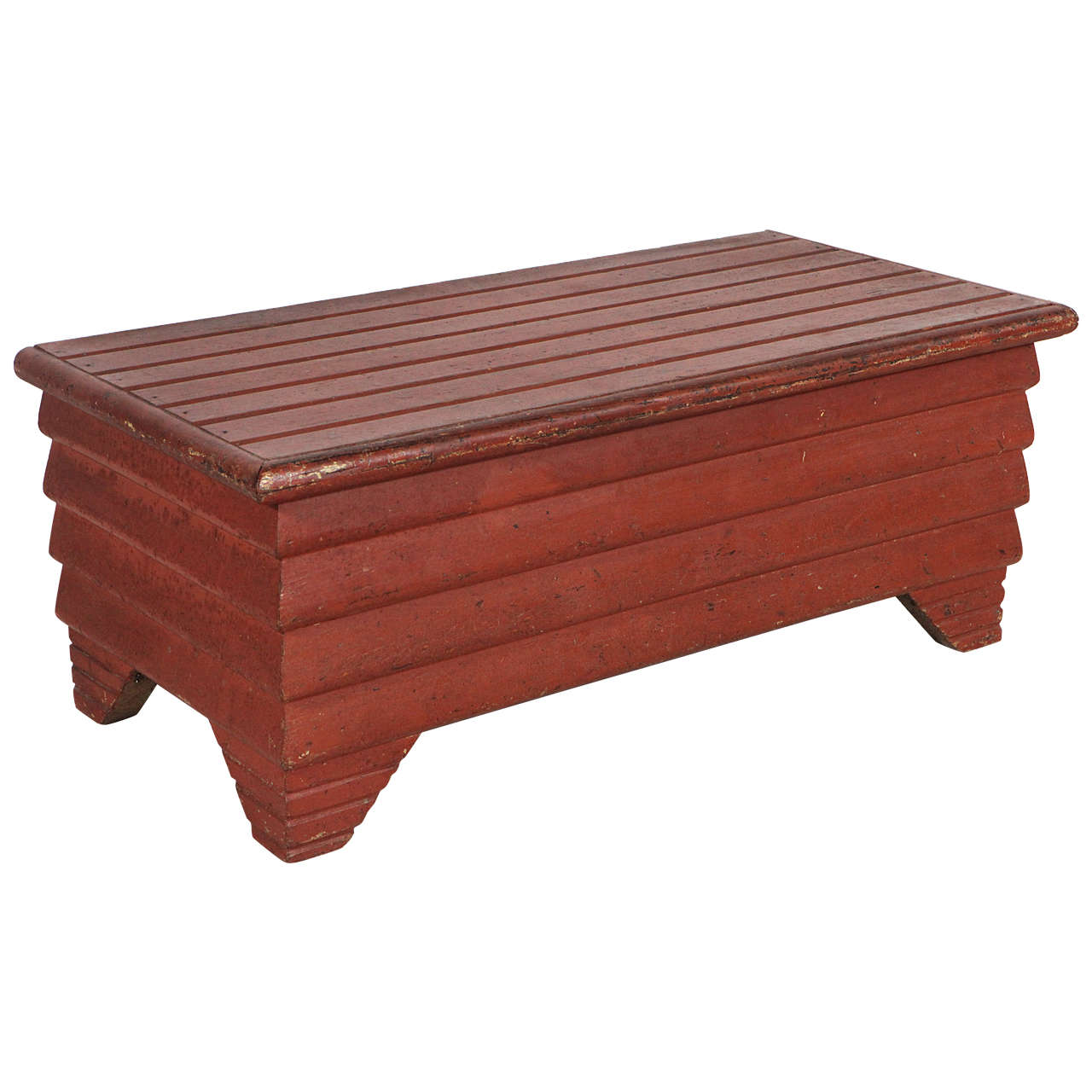 Red Slatted Folk Art Style Bench Trunk At 1stdibs