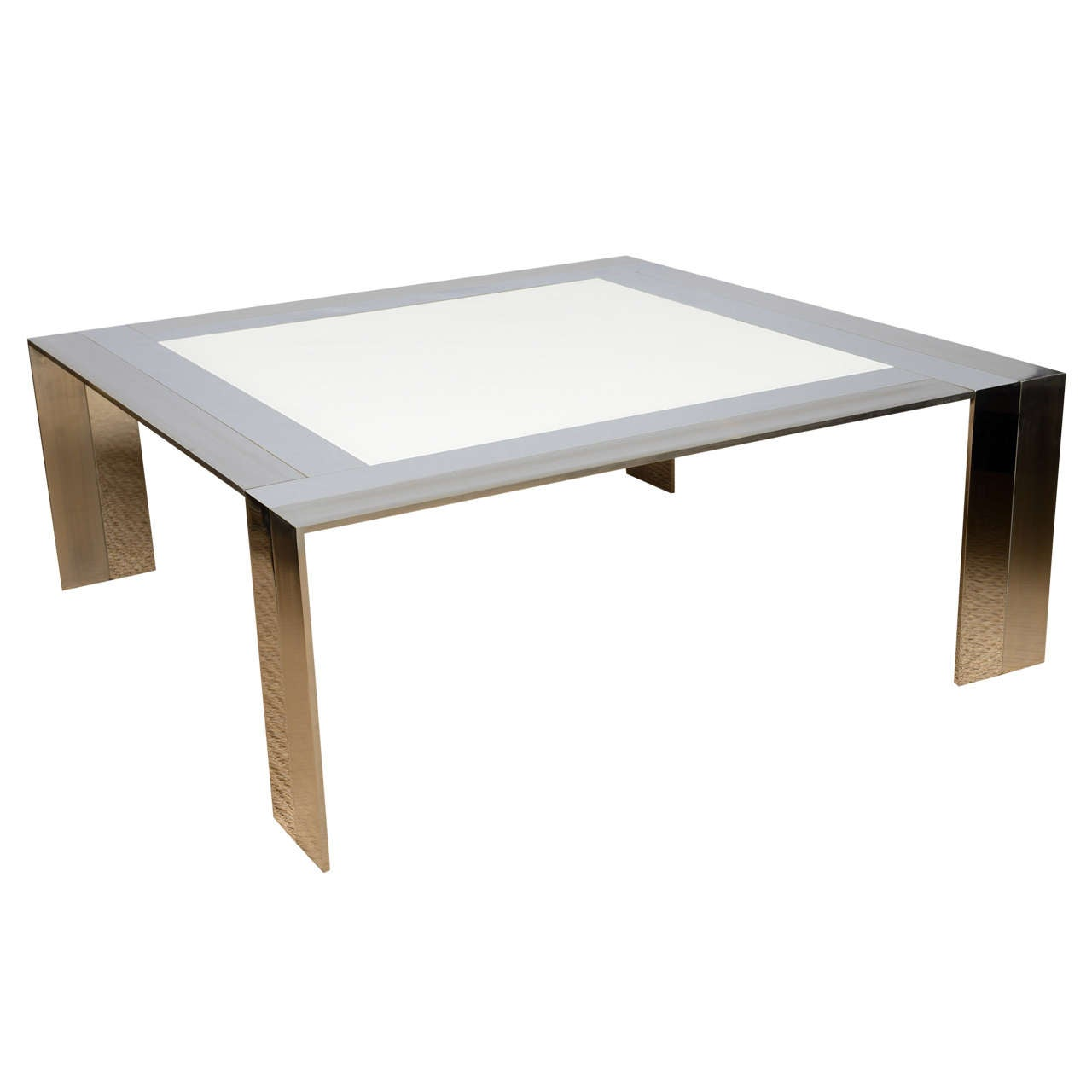 Italian Square Stainless Steel And White Glass Square Cocktail Table For Sale At 1stdibs