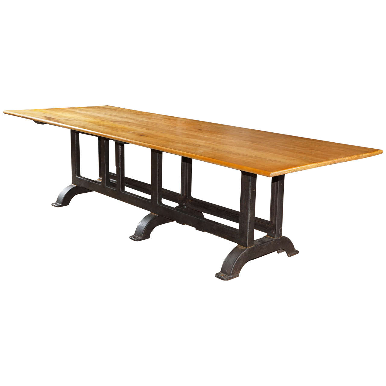 industrial trestle table at 1stdibs. Black Bedroom Furniture Sets. Home Design Ideas