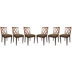 Set of 6 Lattice Back Dining Chairs by Eugenio Quarti