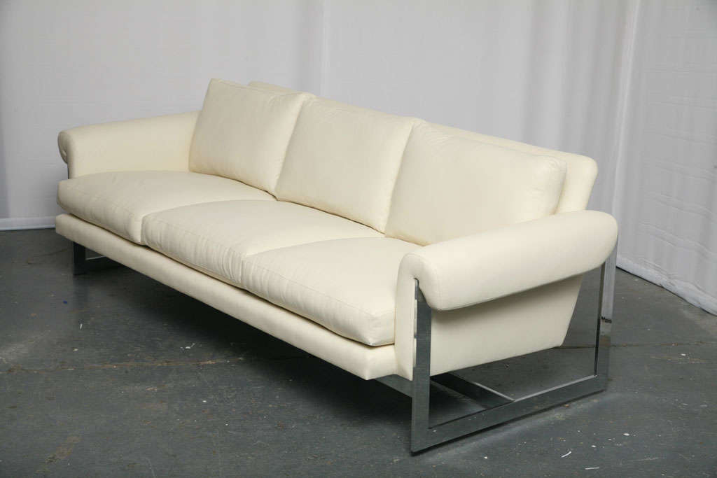 White Leather Sofa with Chromed Metal Frame For Sale at ...