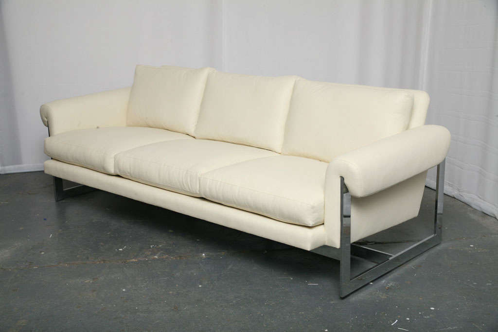 White Leather Sofa With Chromed Metal Frame For Sale At 1stdibs