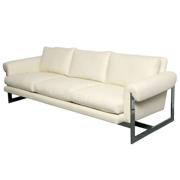 white leather sofa with chromed metal frame for sale at 1stdibs. Black Bedroom Furniture Sets. Home Design Ideas