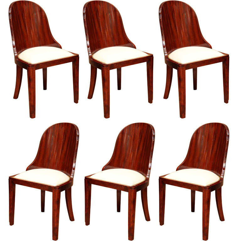 Set Of 6 Superb Art Deco Dining Chairs At 1stdibs