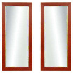 A Pair Of Garrison-Rousseau  Leather Clad Mirrors