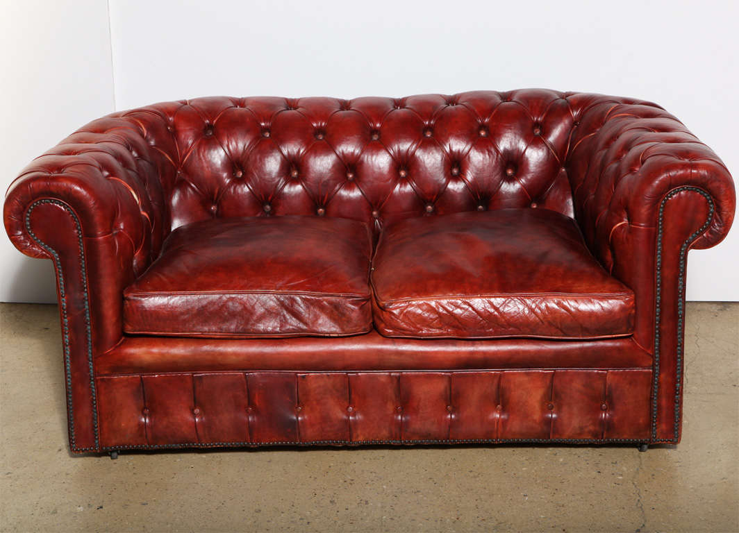 Mahogany Red Leather Chesterfield Sleeper Sofa and Loveseat