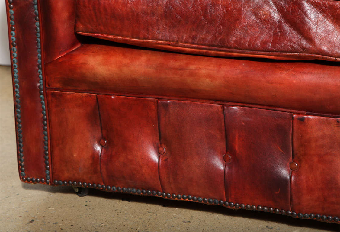 Mahogany Red Leather Chesterfield Sleeper Sofa And