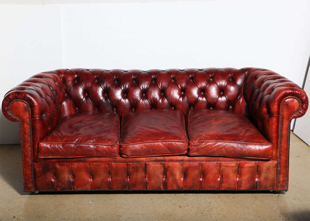 Mahogany red leather chesterfield sleeper sofa and loveseat for sale 5