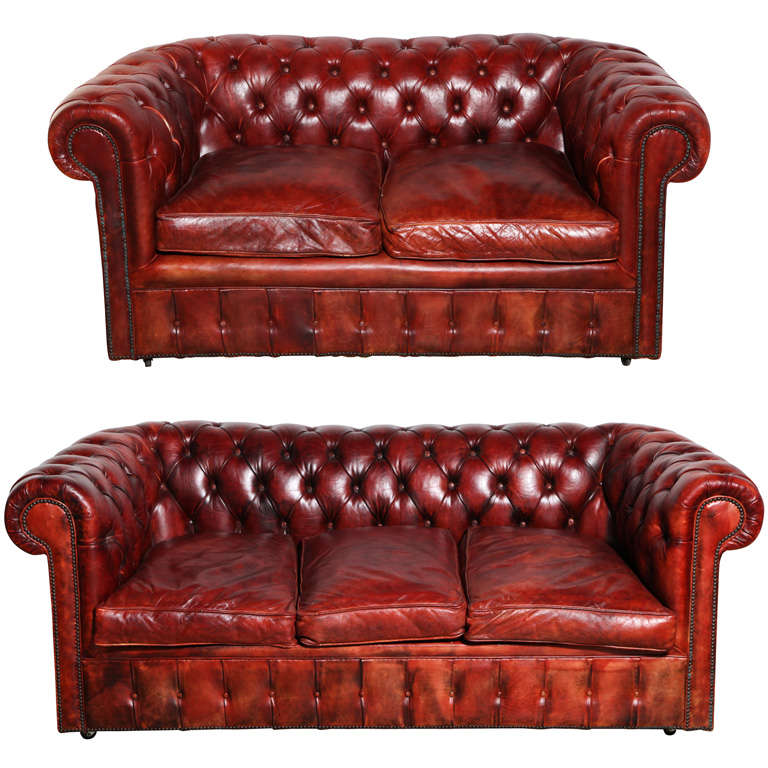 Astounding Mahogany Red Leather Chesterfield Sleeper Sofa And Loveseat Machost Co Dining Chair Design Ideas Machostcouk