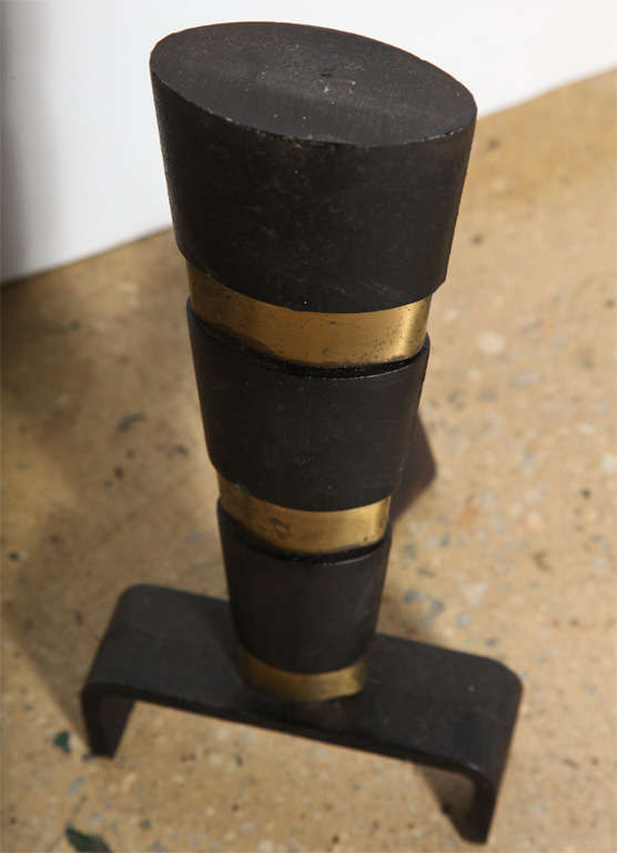 Mid-20th Century Substantial Pair of 1950s Ward Bennett Black Cast Iron and Brass Andirons For Sale