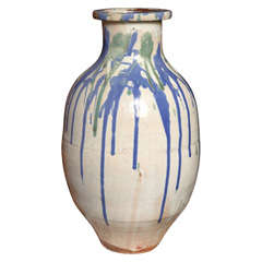 19th Century Meiji Glazed Ceramic Jar from the Japanese Shigaraki Kilns