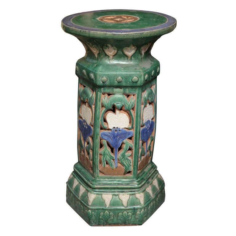 garden pedestal. French Colonial Art Nouveau Style Garden Pedestal Made With Glazed Ceramic For Sale