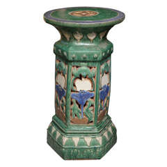 French Colonial Art Nouveau Style Garden Pedestal Made with Glazed Ceramic