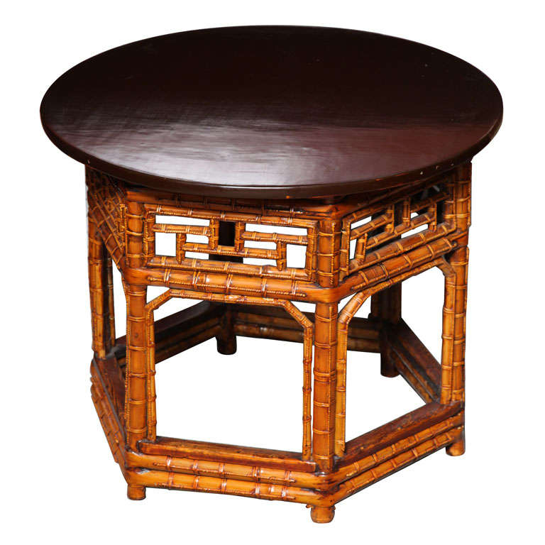 Th Century Chinese Hexagonal Bamboo And Black Lacquered Wood Side - Hexagon wood coffee table