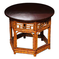 19th Century Chinese Hexagonal Bamboo and Black Lacquered Wood Side Table