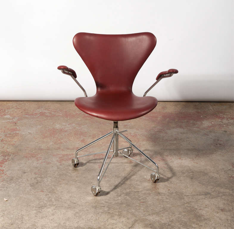 vintage office chair. Office Chair, \u0027Seven\u0027 With Armrests, In Molded Plywood Upholstered Leather, Vintage Chair