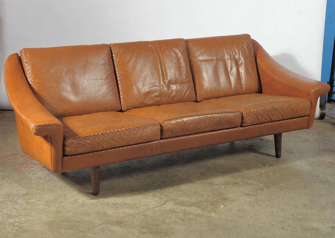 Nordic Designed Leather Three Seater Sofa At 1stdibs